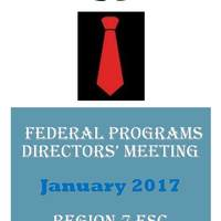 January 2017 Federal Programs Directors' Meeting