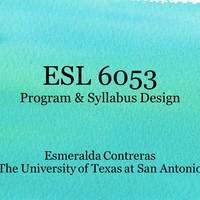 ESL 6053: Program & Syllabus Design
