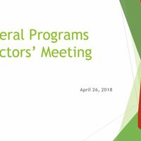July 2018 Federal Programs Directors' Meeting
