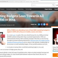 All Things Digital: 2014 Budget Plans for B2B Marketers