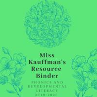 Phonics and Developmental Literacy Binder 2019-2020