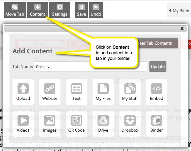 add links, upload files, add other content, set text layout
