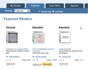 LiveBinders Featured Shelf