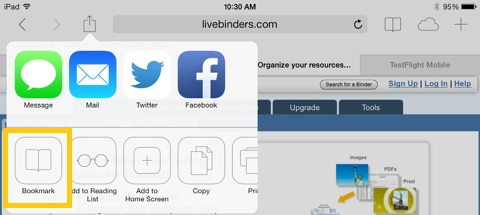 screenshot of ipad - where to add bookmark