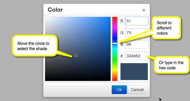 screenshot of selecting tab color