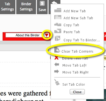 clear a link or a document from a tab