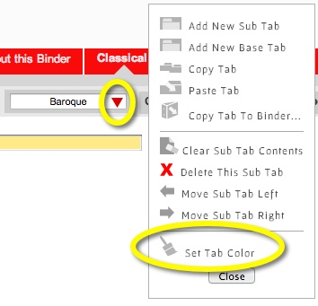 screenshot of how to change tab color