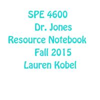SPE 4600 Resource Notebook