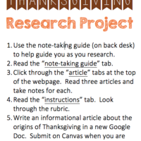Thanksgiving Research Project