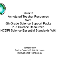 NCDPI Gr 5 Science Essential Standards Unit Planning Resources